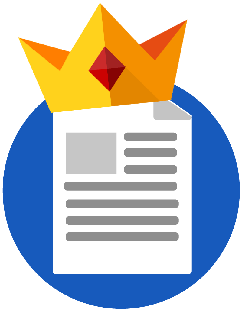 A piece of paper with writing on it and a gold crown on top.