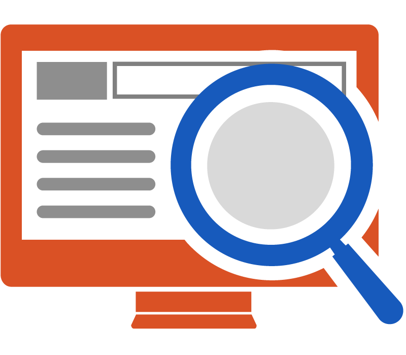 Looking at a computer screen with a magnifying glass to inspect it.