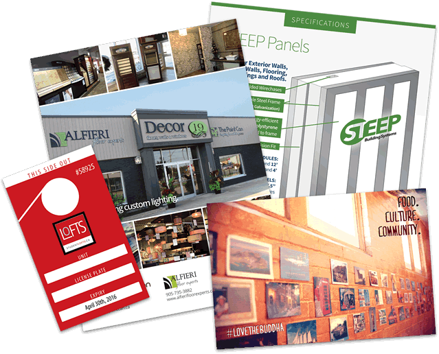 Magazine ads, parking passes, and other print materials we have designed.