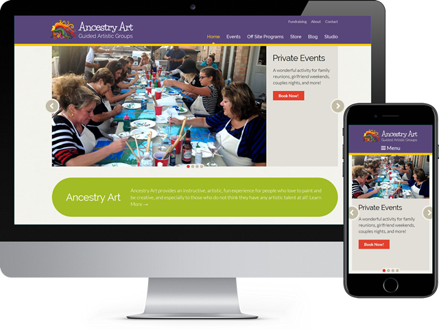 Ancestry Art website works on a desktop computer and mobile devices.