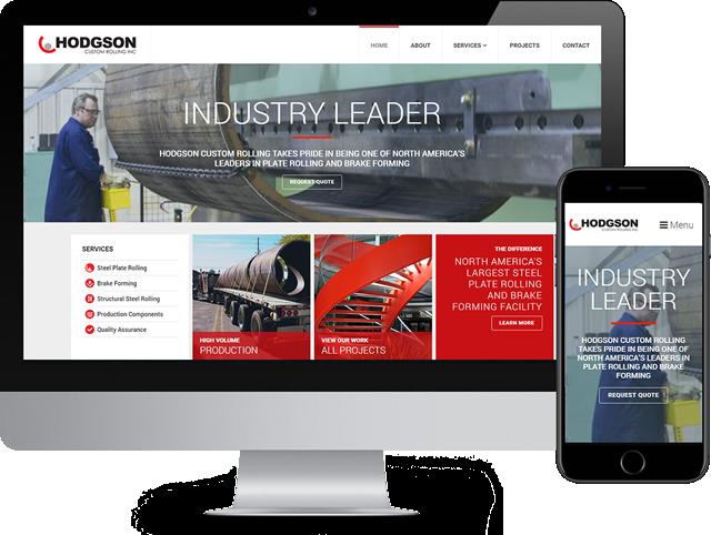 Custom designed website for Hodgson Custom Rolling being displayed on a desktop computer and mobile phone.